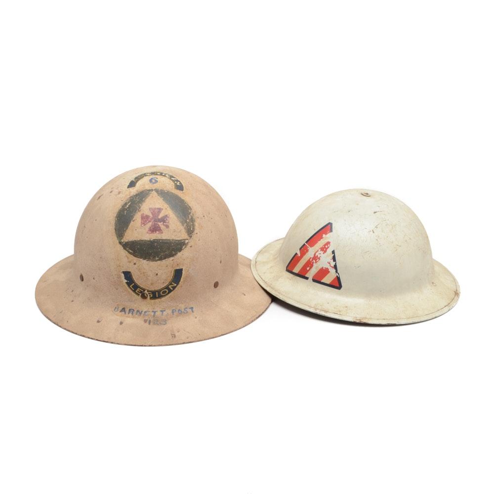 Vintage Civil Defense and American Legion Helmets