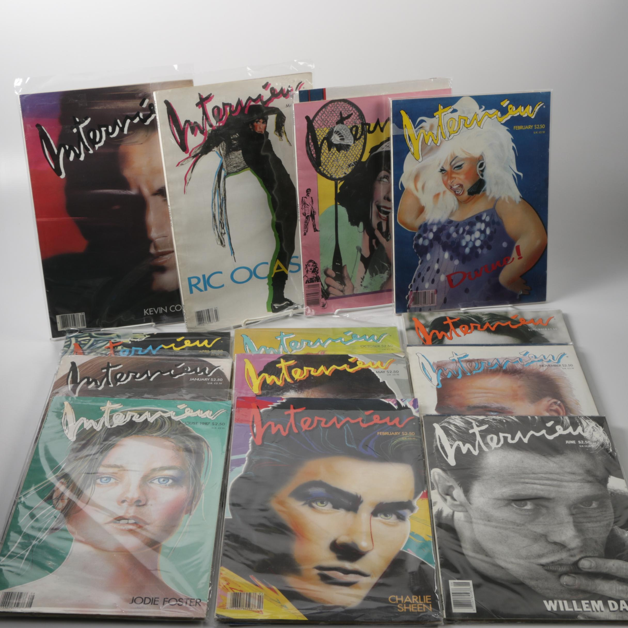 """1987-1988 Thirteen Issues of """"Interview"""", Andy Warhol's Magazine"""