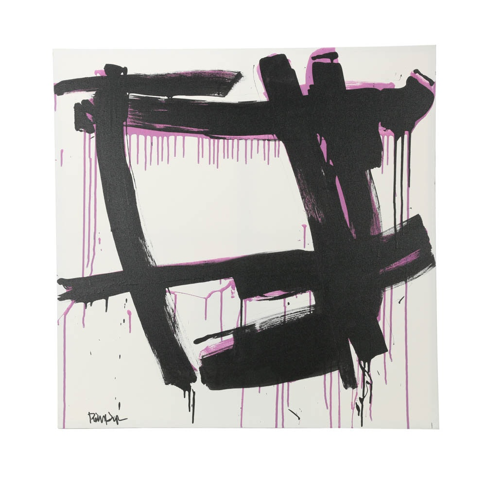 """Robbie Kemper Abstract Acrylic Painting """"Black over Lavender"""""""