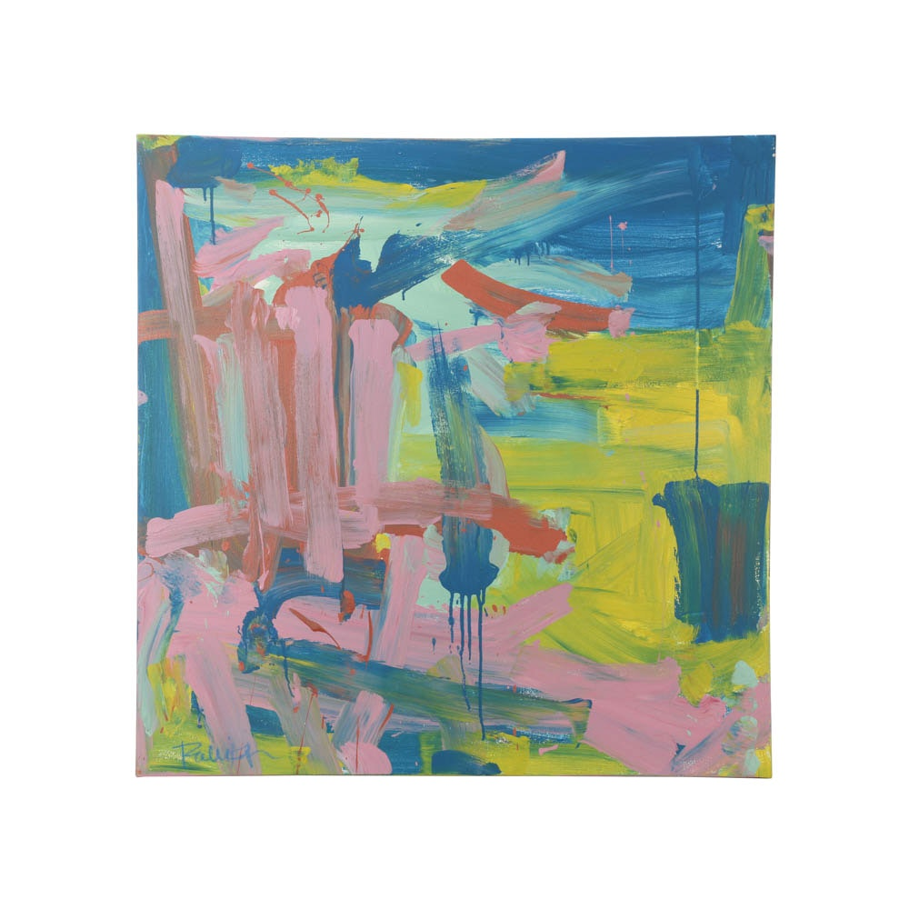 """Robbie Kemper Abstract Acrylic Painting """"Pink Lime Blue"""""""