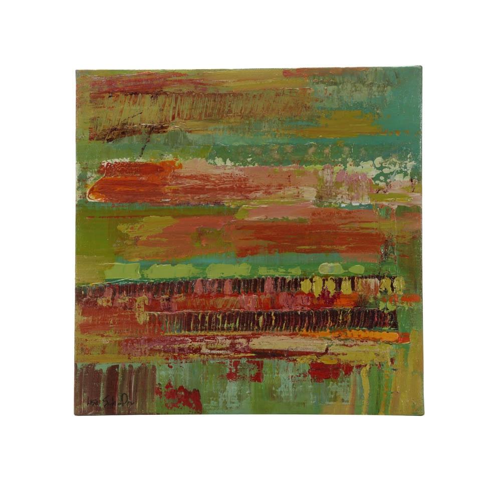 "Lisa Schafer Original Acrylic Painting ""Retro Vibe"""