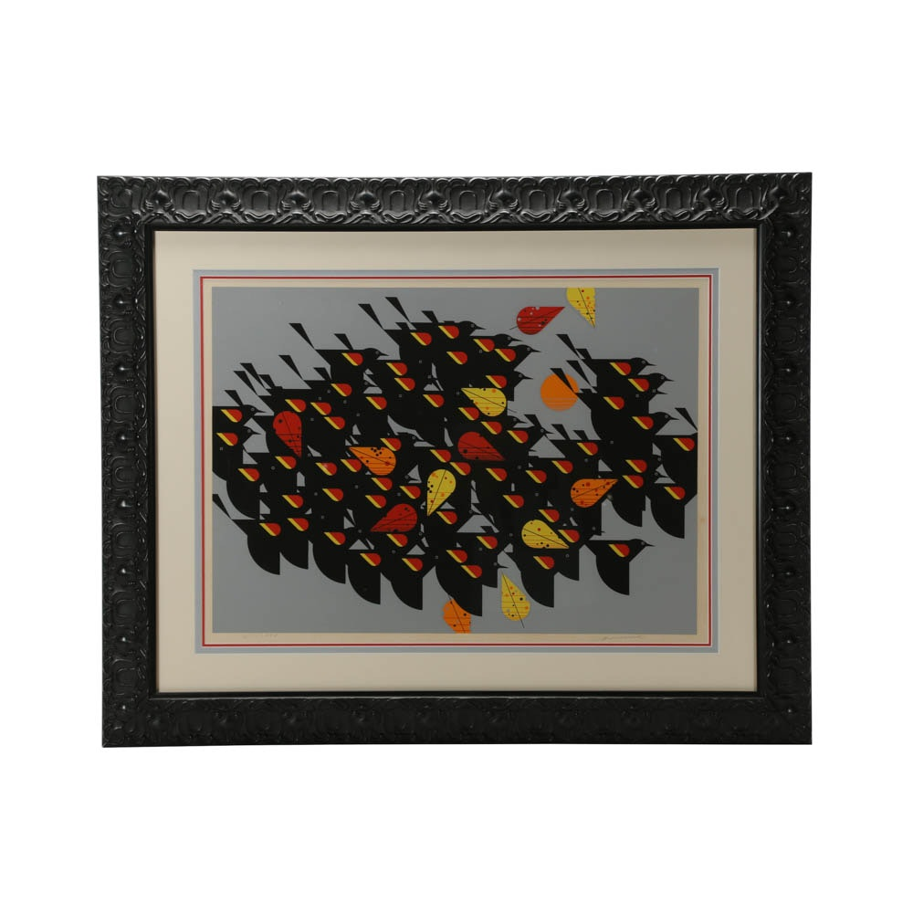 "Charley Harper Limited Edition Serigraph after ""Birds of a Feather"""