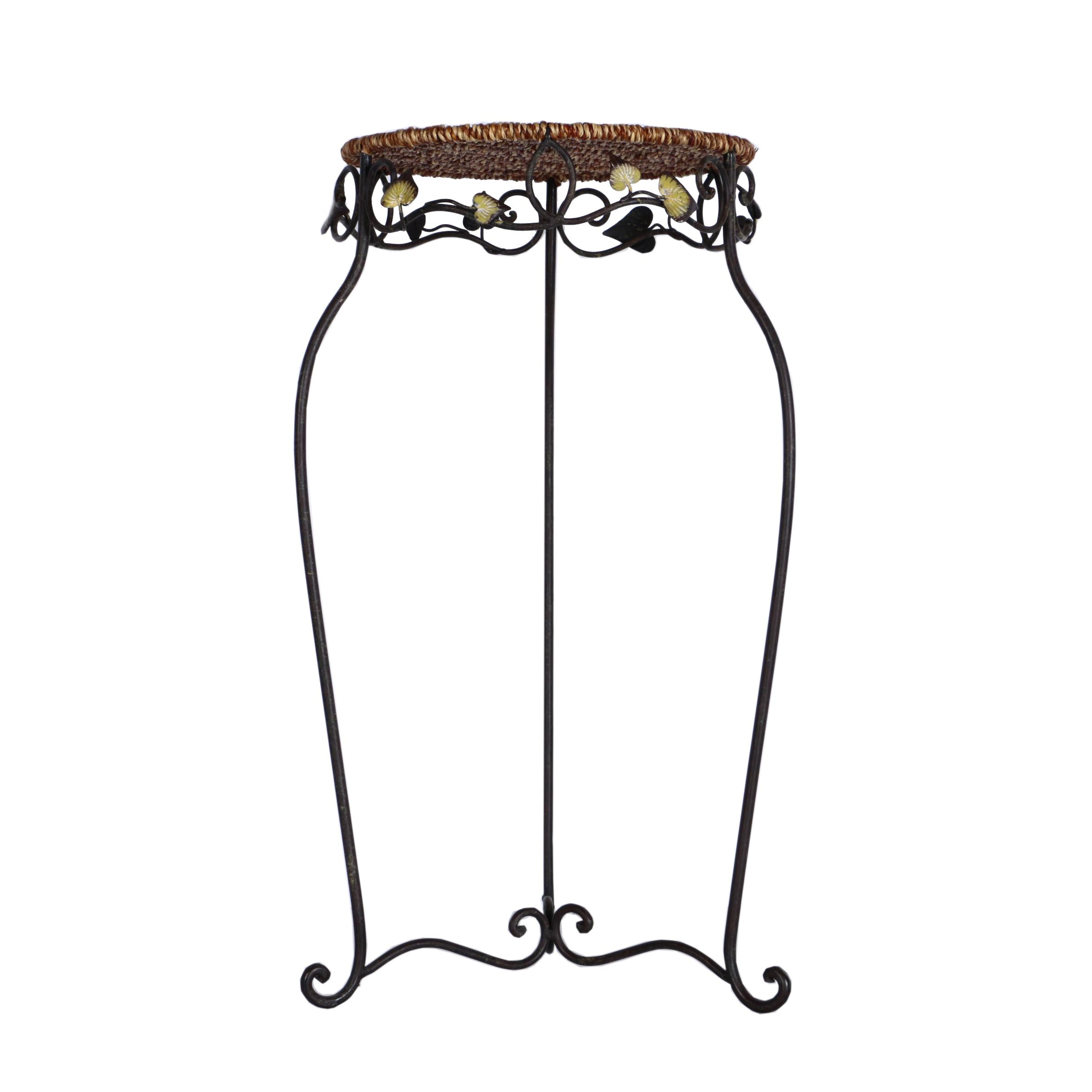 Decorated Metal Accent Table