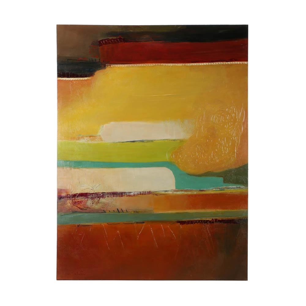 "Lisa Schafer Mixed Media Painting ""Vis a Vis"""