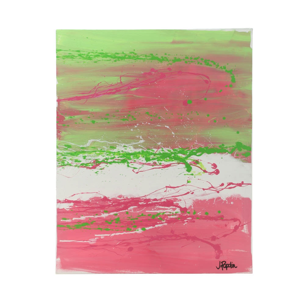 """J. Popolin Original Acrylic Painting on Canvas """"Pink Fade Green Dots"""""""