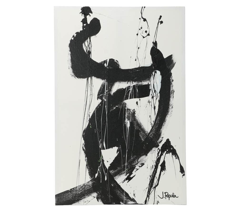 "J. Poplin Acrylic Painting ""Black on White"""