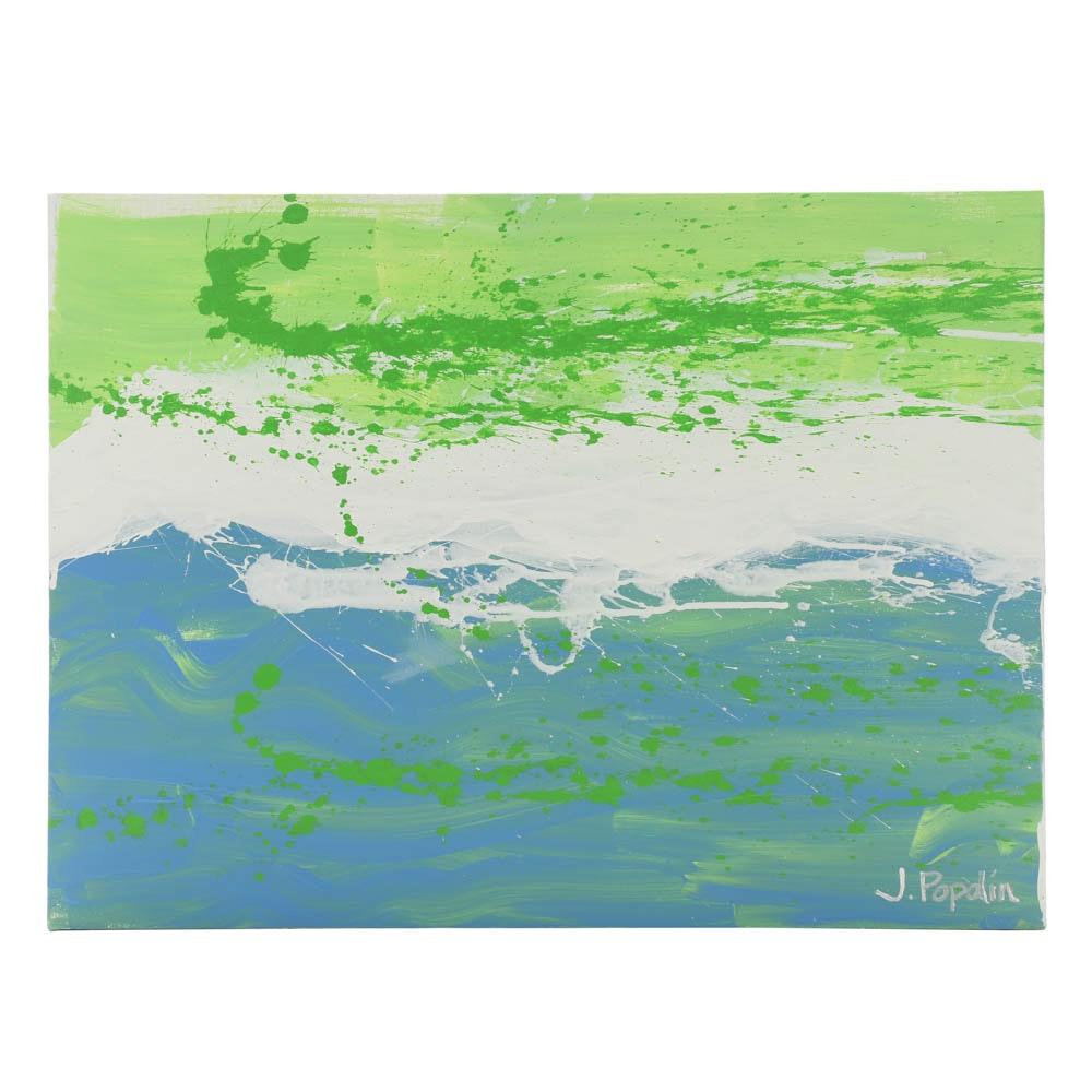 "J. Popolin Original Acrylic Painting on Canvas ""Blue Fade Green Drips"""
