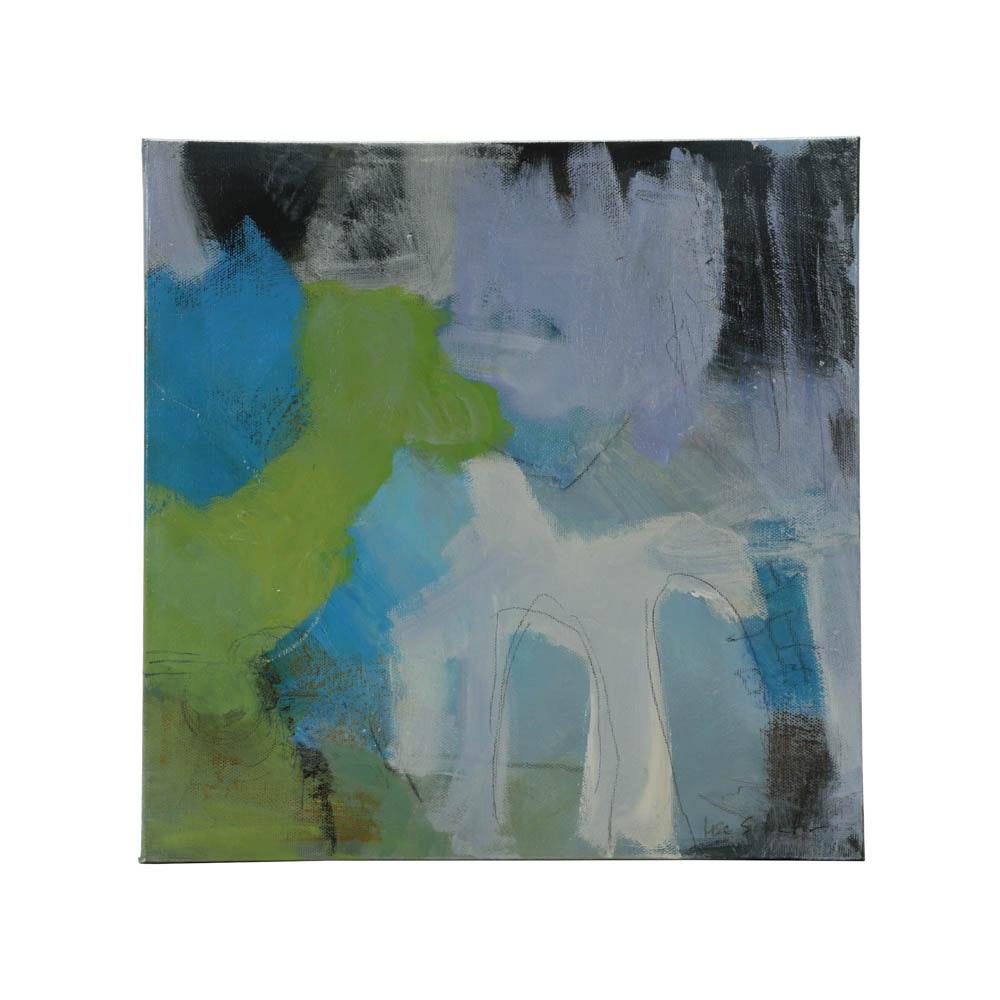 "Lisa Schafer Original Acrylic Painting ""Blue Blurb"