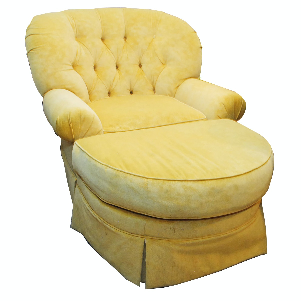 Vintage Upholstered Arm Chair and Ottoman