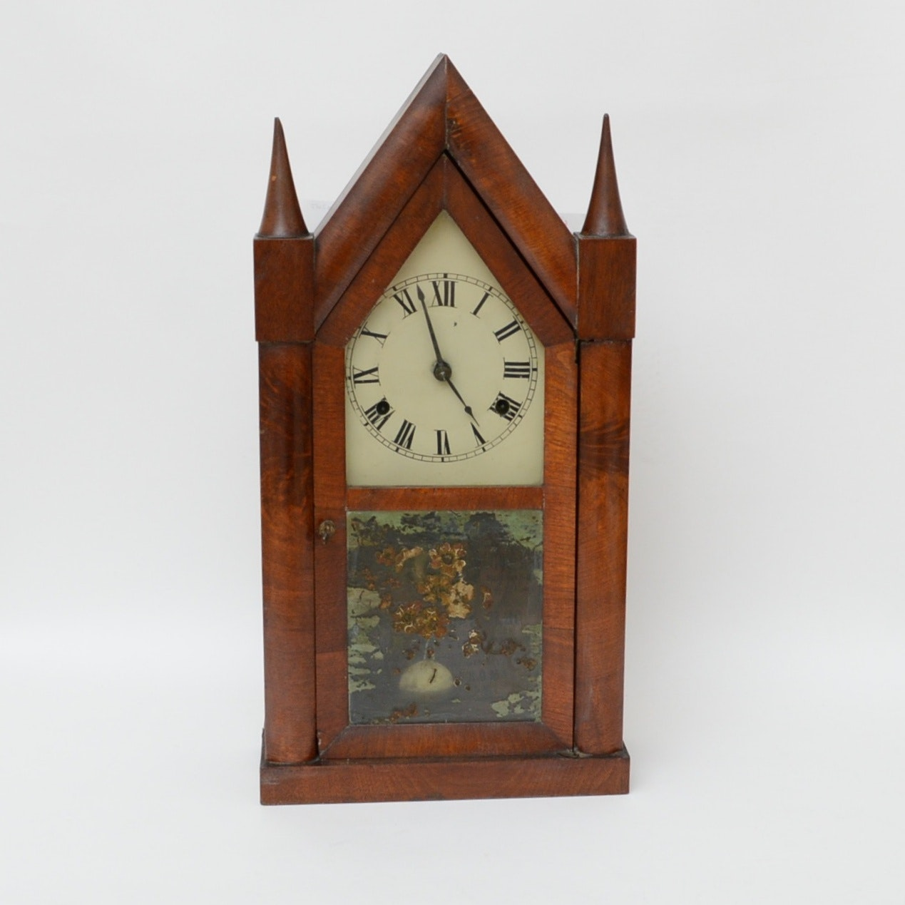 Antique Burl Wood Chauncey Jerome Steeple Clock