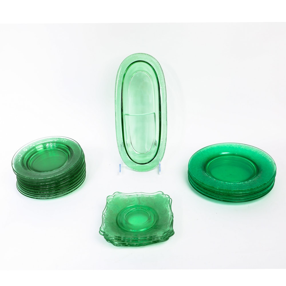 Assortment of Green Depression Glass