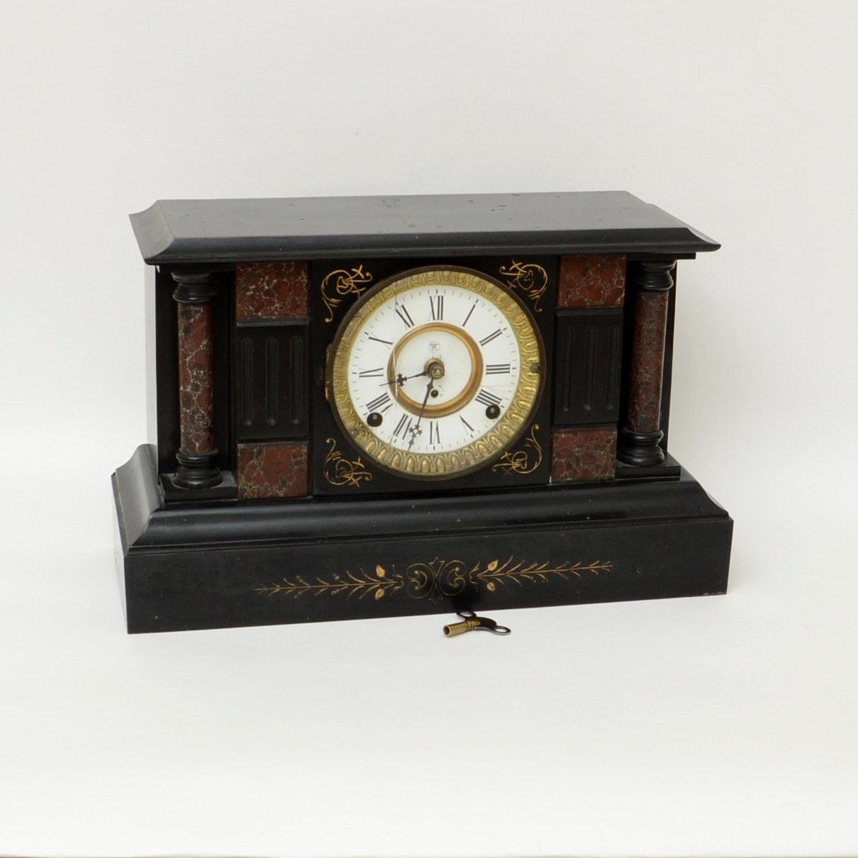 Antique Cast Iron Mantel Clock