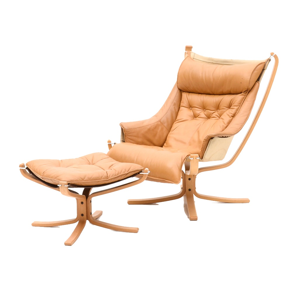 "Danish Modern Leather ""Falcon"" Chair and Ottoman by Vatne Mobler"