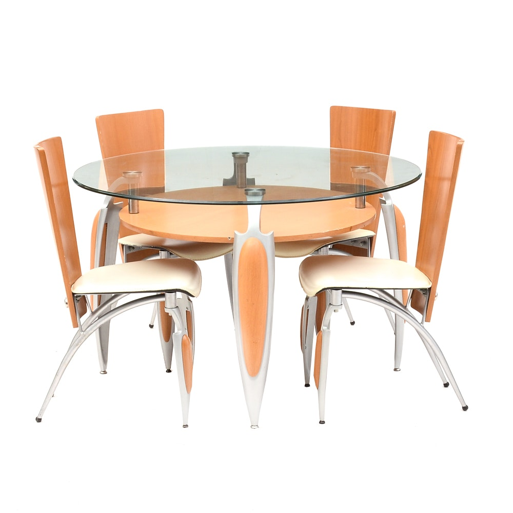 Contemporary Modernist Dining Table and Chairs