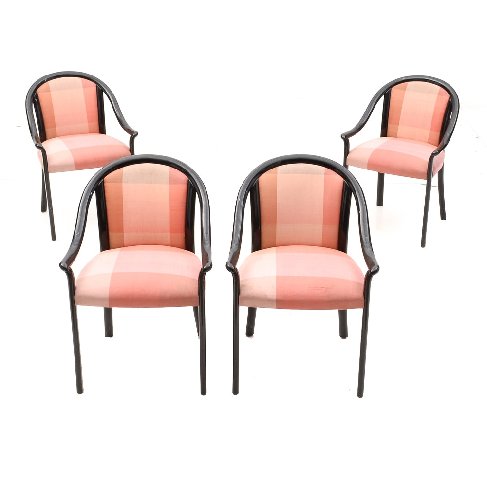 Asian Inspired Black Lacquered Armchairs by Stendig