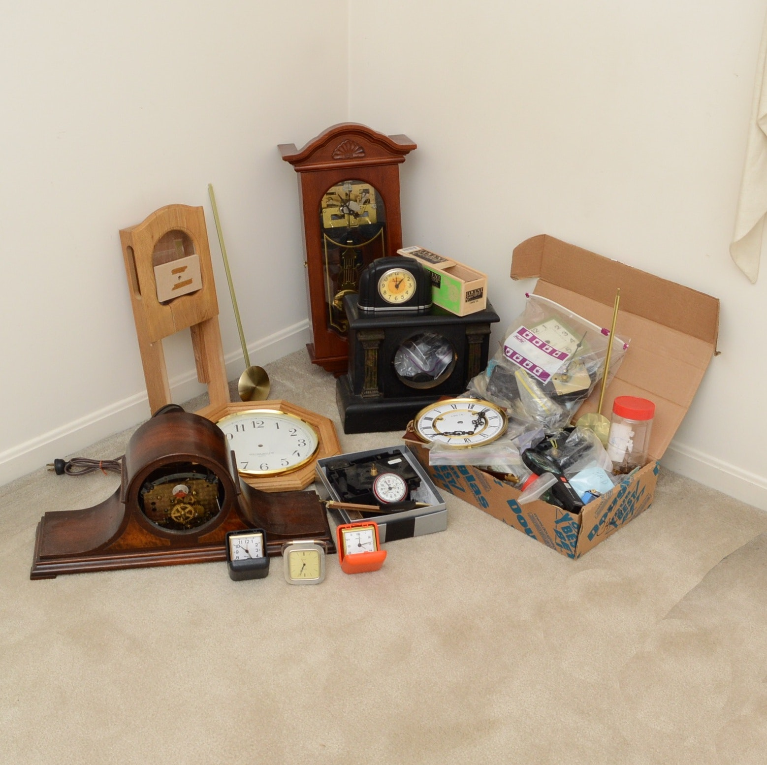 Collection of Wall and Mantel Clock Cases and Parts
