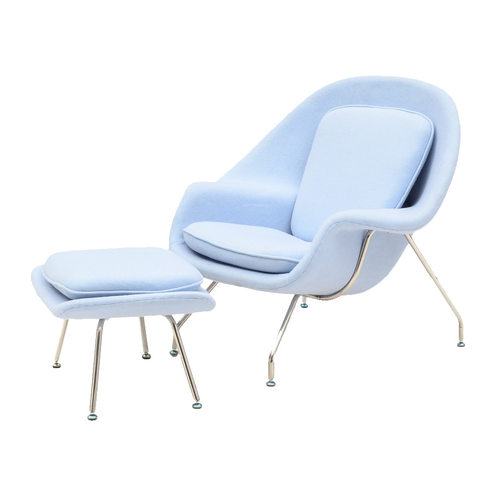 Mid Century Modern Style Molded Armchair in Baby Blue by Kardiel