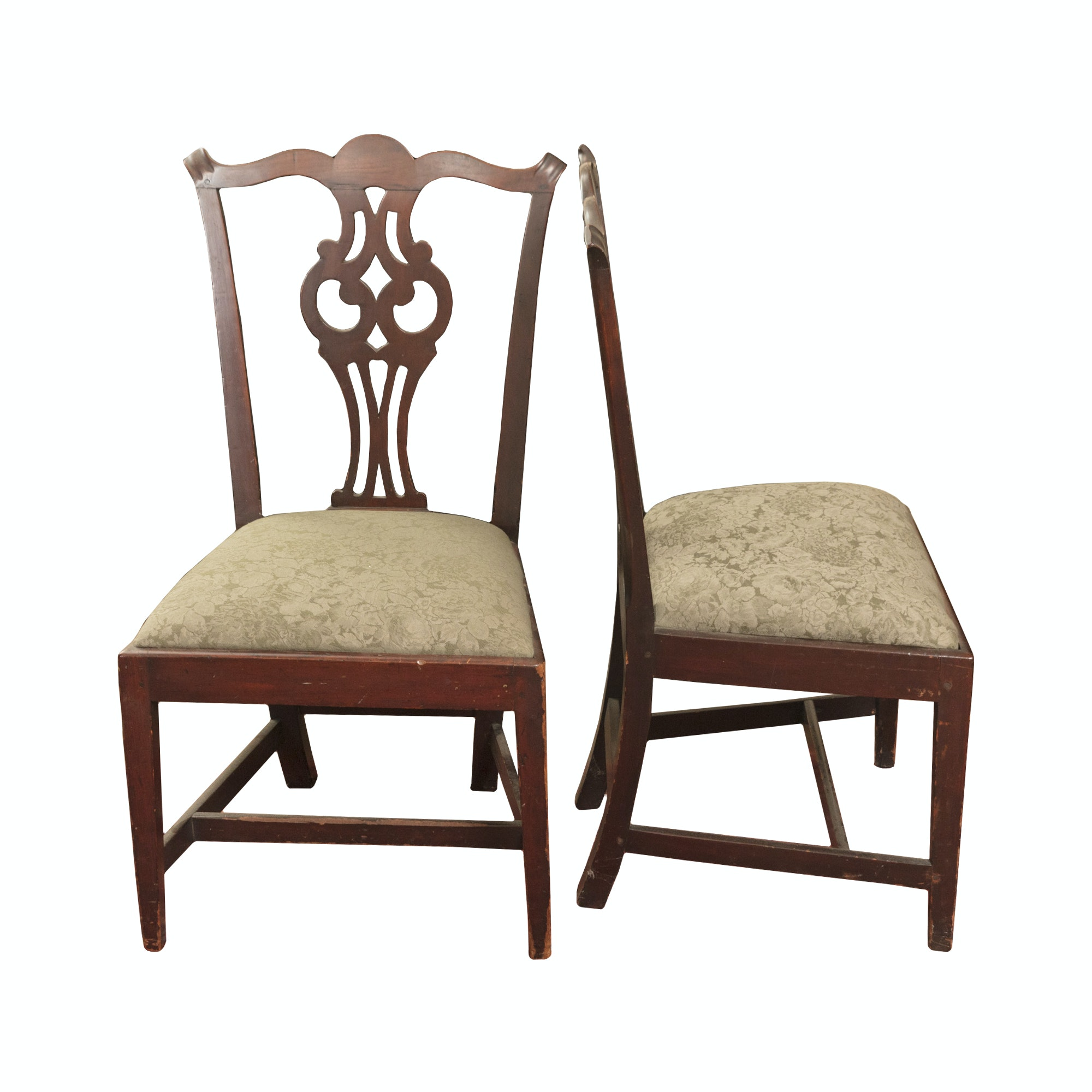 Antique Chippendale Style Cherry Side Chairs