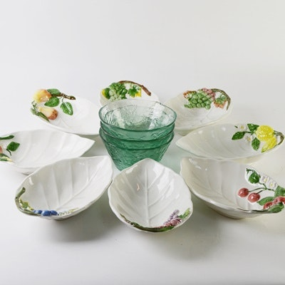 Italian Ceramic Fruit Bowls and Glass Bowls
