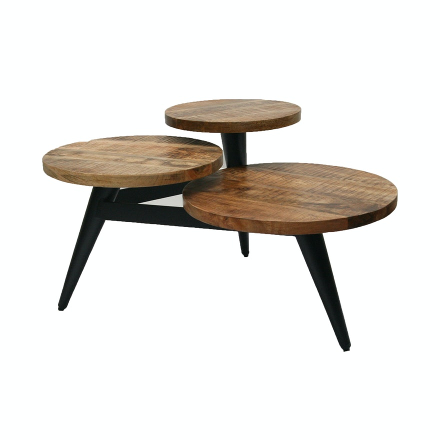 Wood And Metal Multi Level Coffee Table.Contemporary Modernist Wood And Metal Multi Level Coffee Table