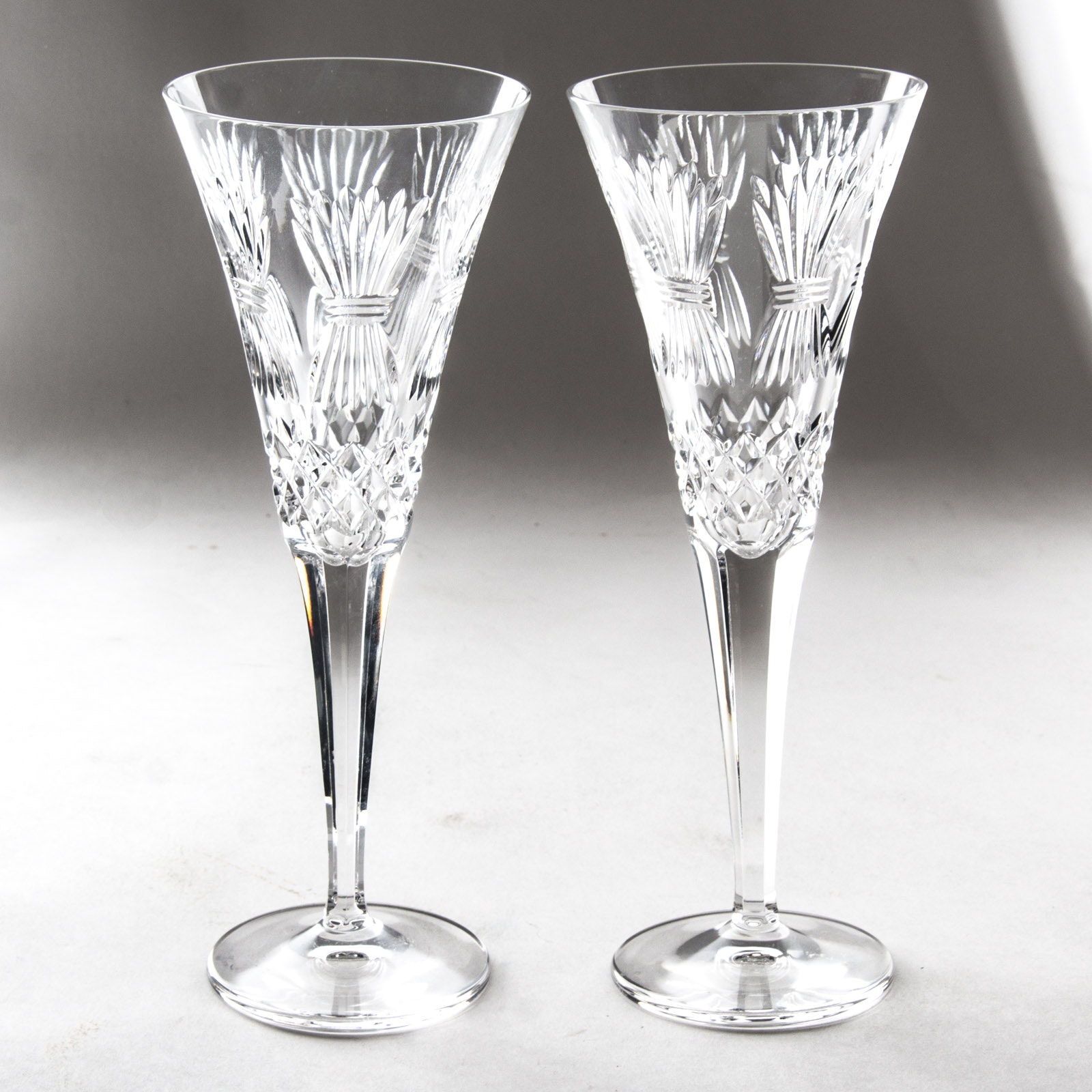 """Waterford Crystal """"Millennium Series: Prosperity"""" Champagne Toasting Flutes"""