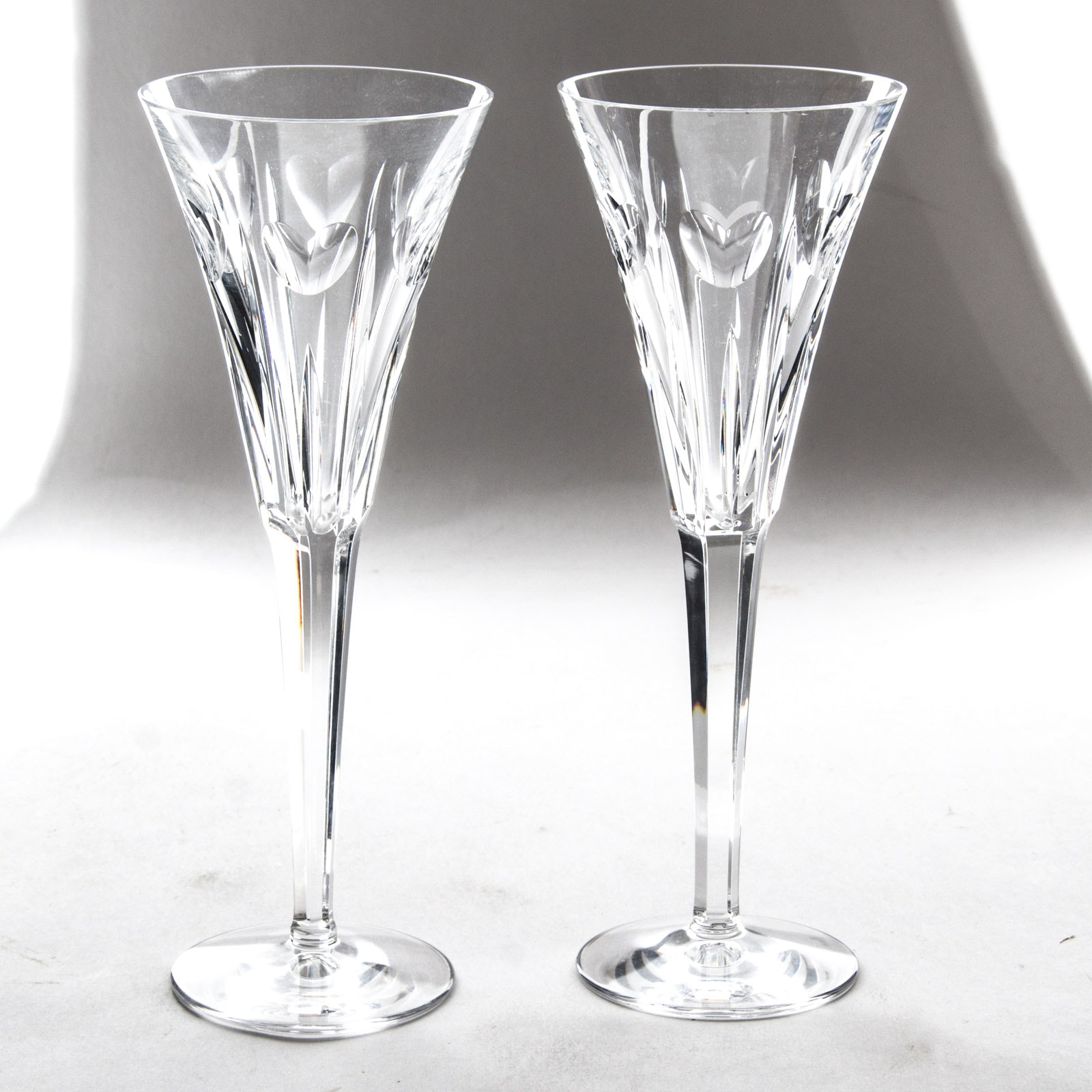 """Waterford Crystal """"Millennium Series: Love"""" Champagne Toasting Flutes"""