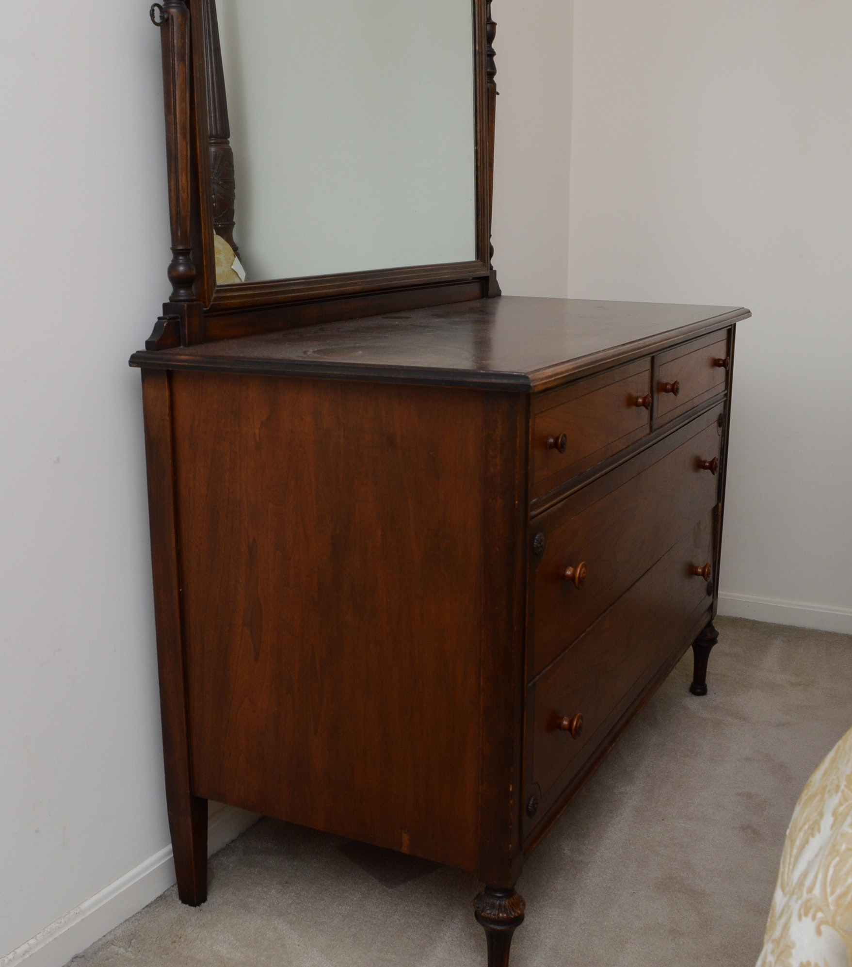 Antique Walnut Dresser with Mirror Circa 1920's
