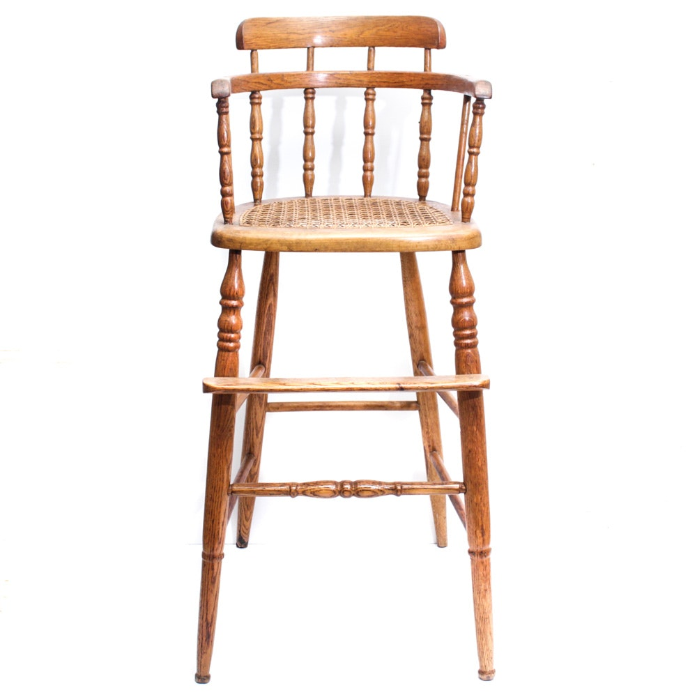 Turn-of-the-Century Caned Oak High Chair