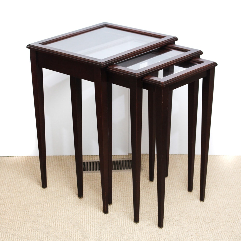 Wood and Glass Nesting Tables