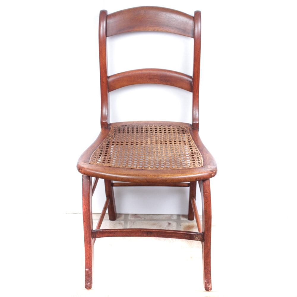 Antique Caned Wooden Side Chair