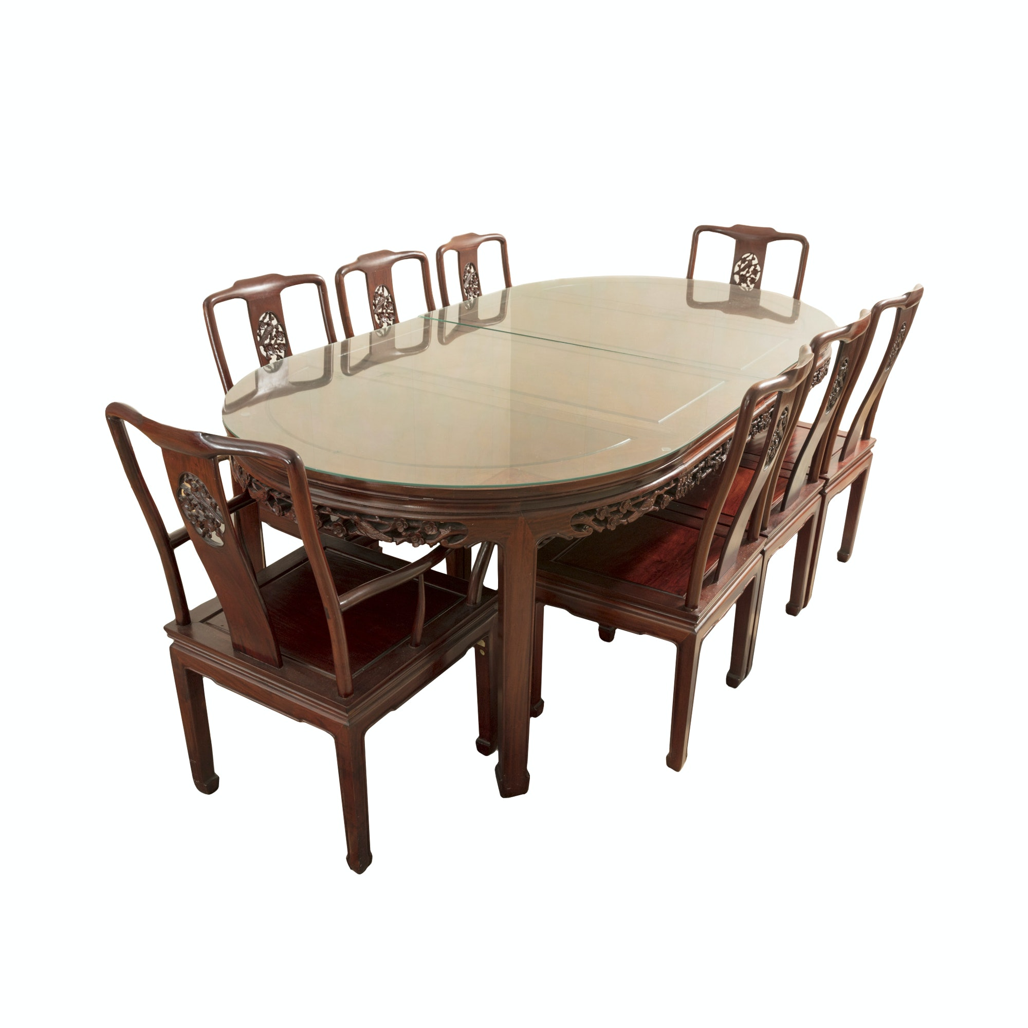 Asian Inspired Walnut Dining Table and Chairs