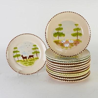 "Italian ""Lamas"" Pottery Plates, Set of Twelve"