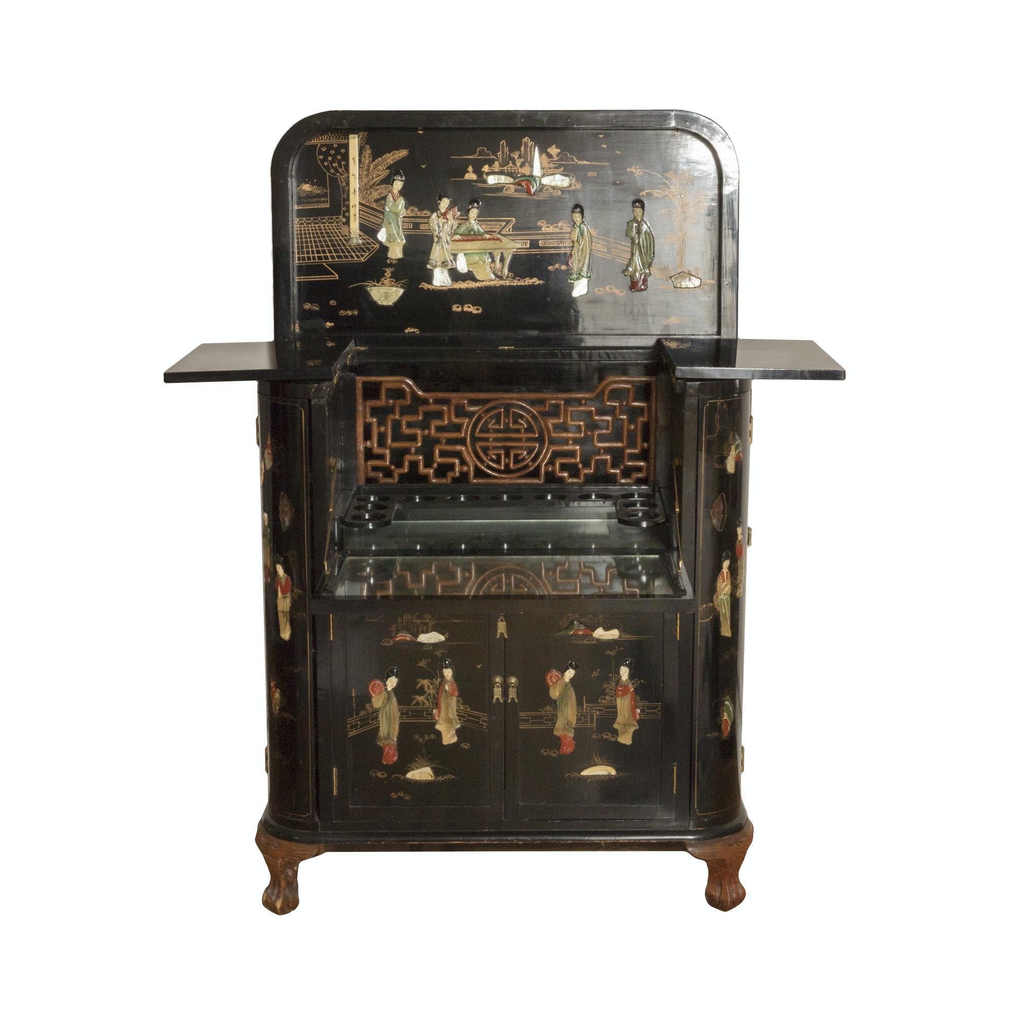 Vintage Black Lacquer Asian Liquor Cabinet