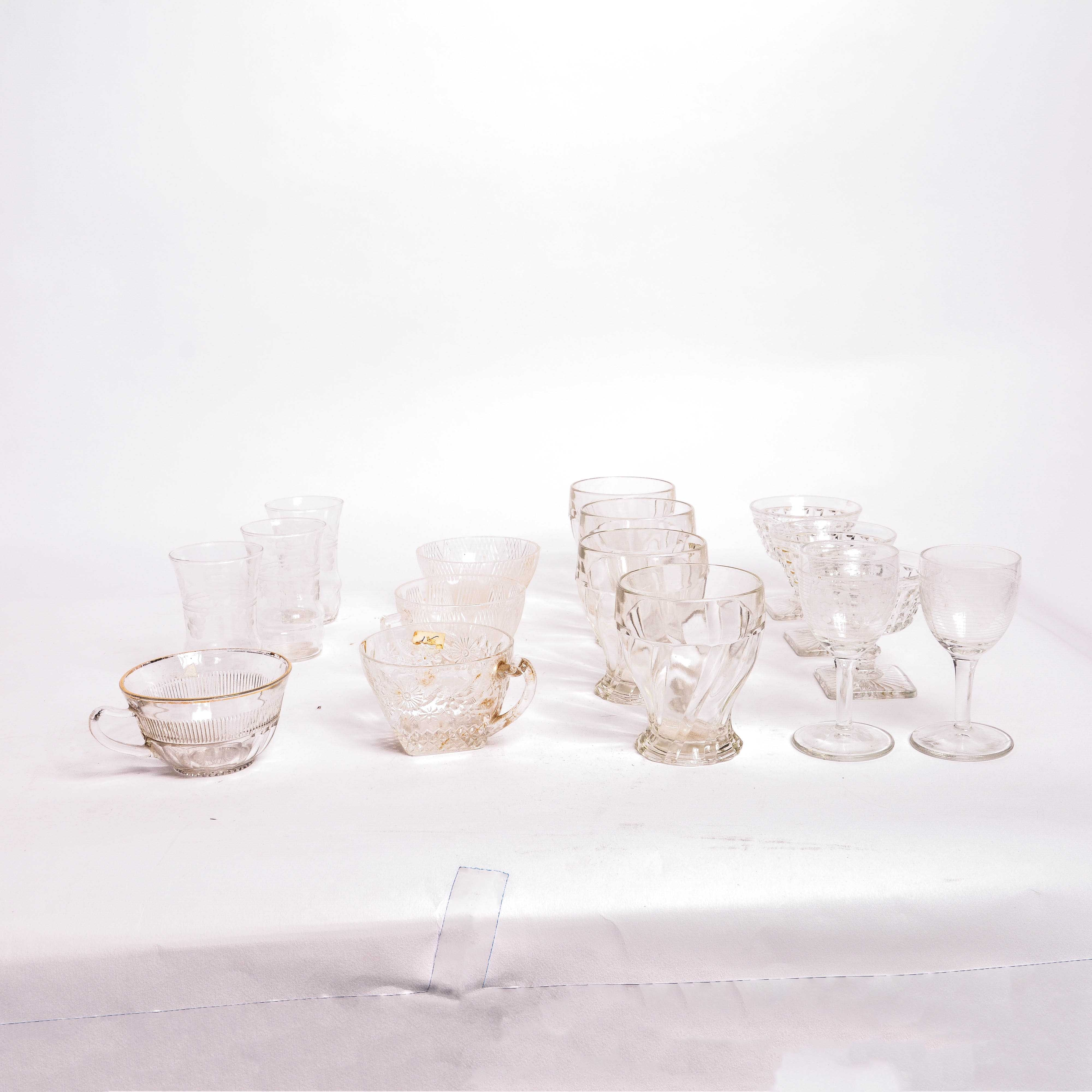Assortment of Vintage Clear Pressed Glassware