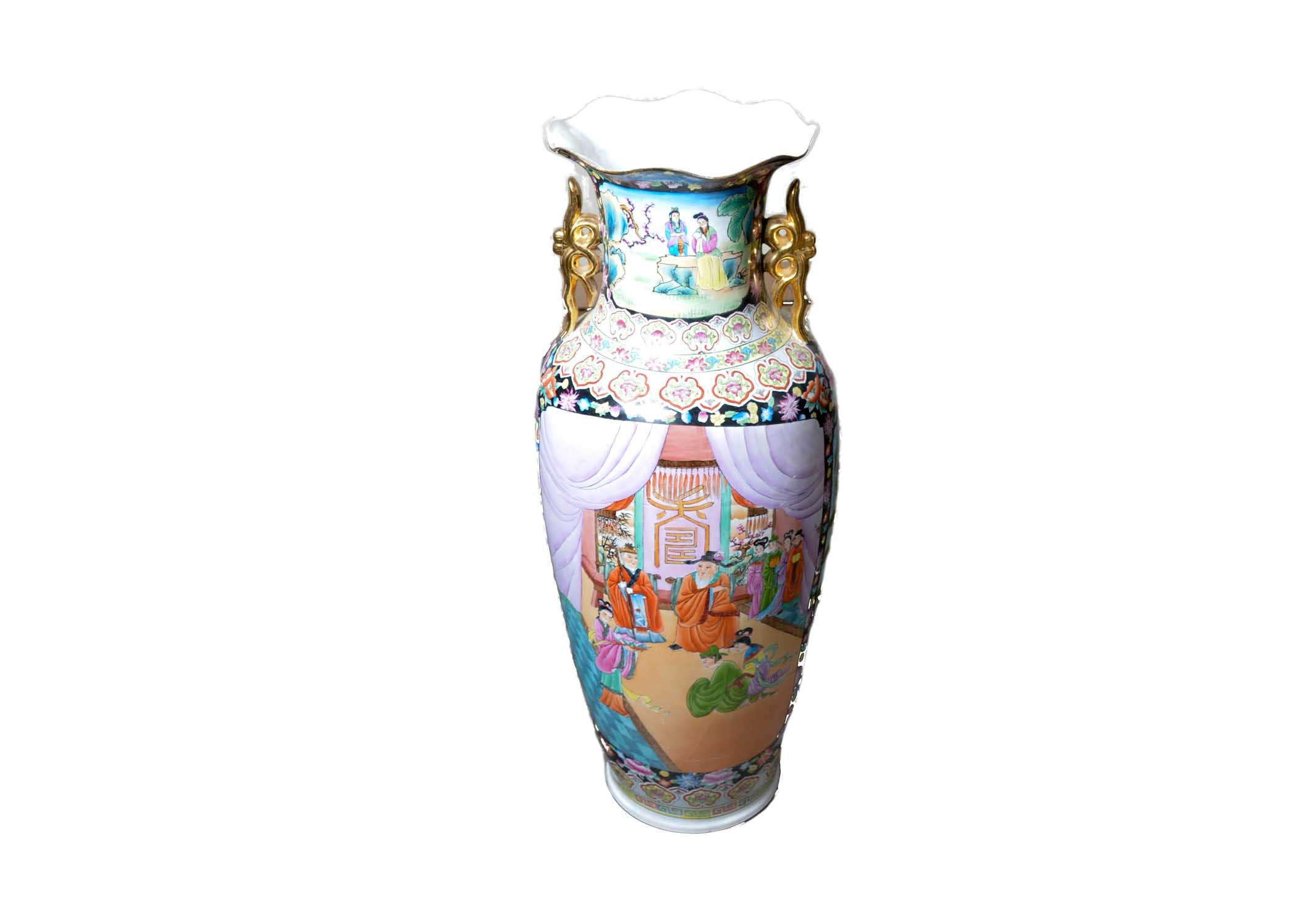 Large Chinese Hand-Painted Floor Vase