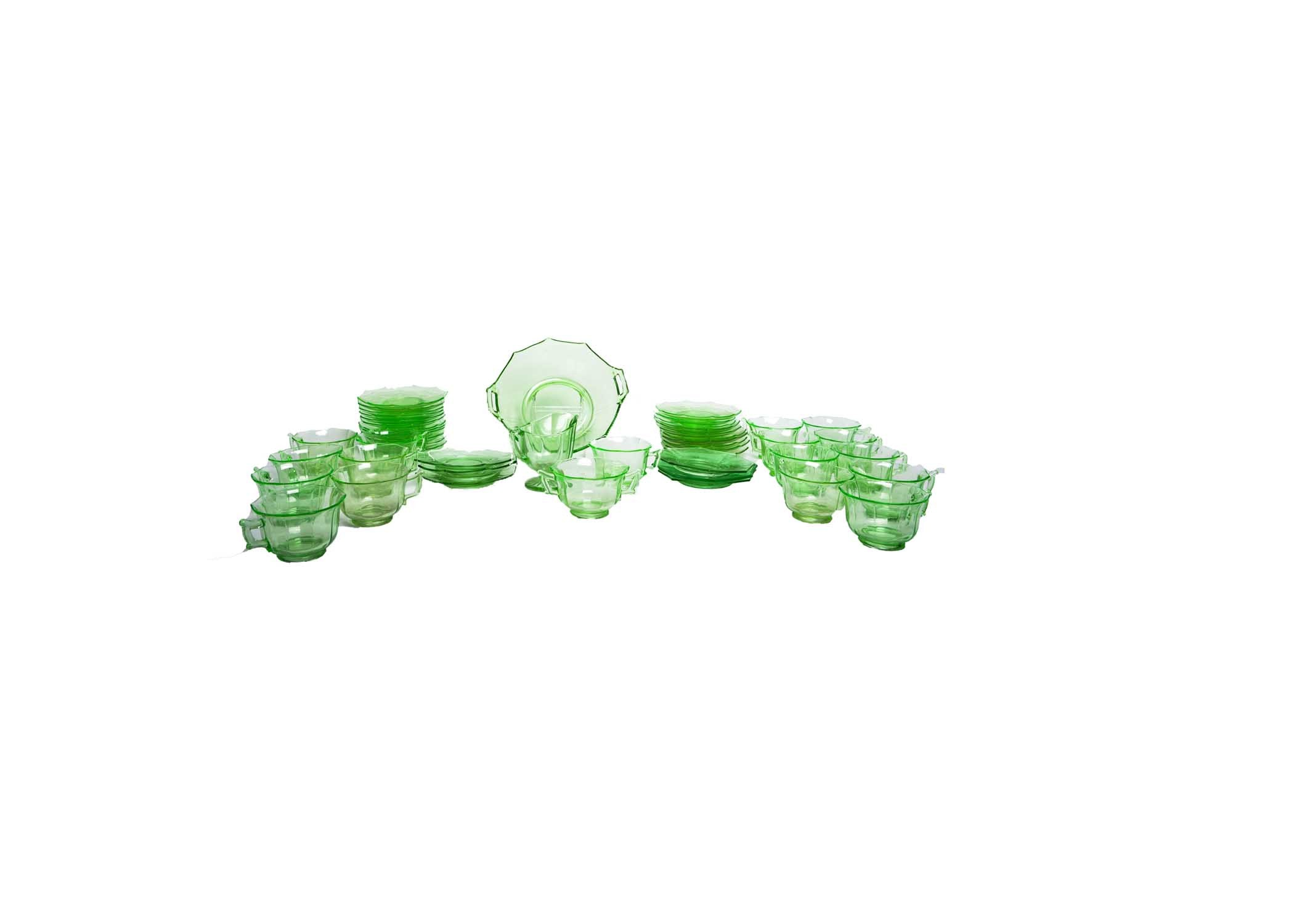 "Collection of Vintage Green Cambridge ""Decagon"" Depression Glass Tableware"
