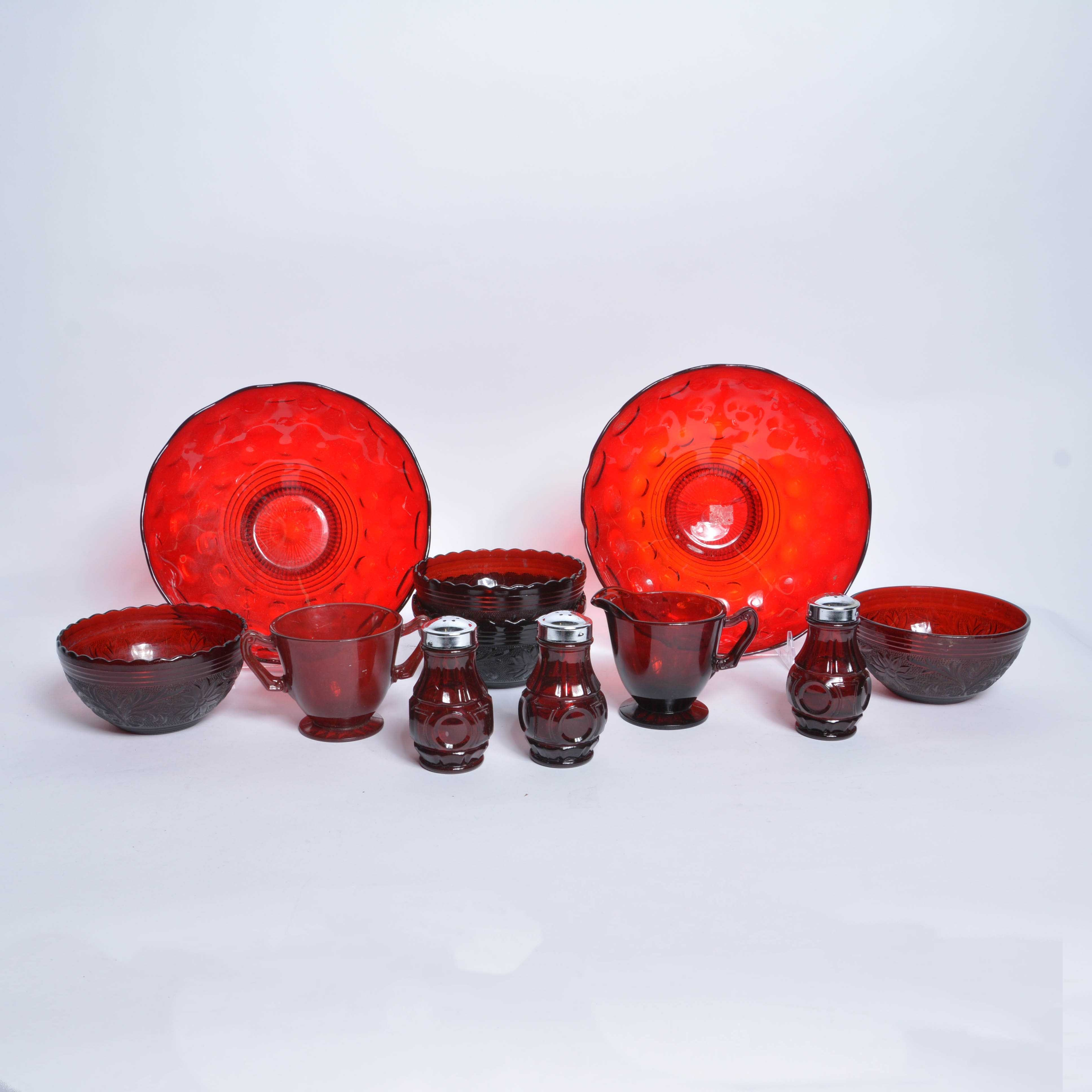 Assortment of Red Depression Glass