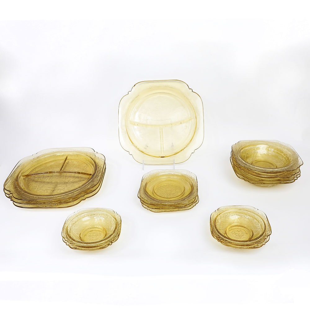 "Collection of Amber Federal Glass ""Madrid"" Dinnerware"