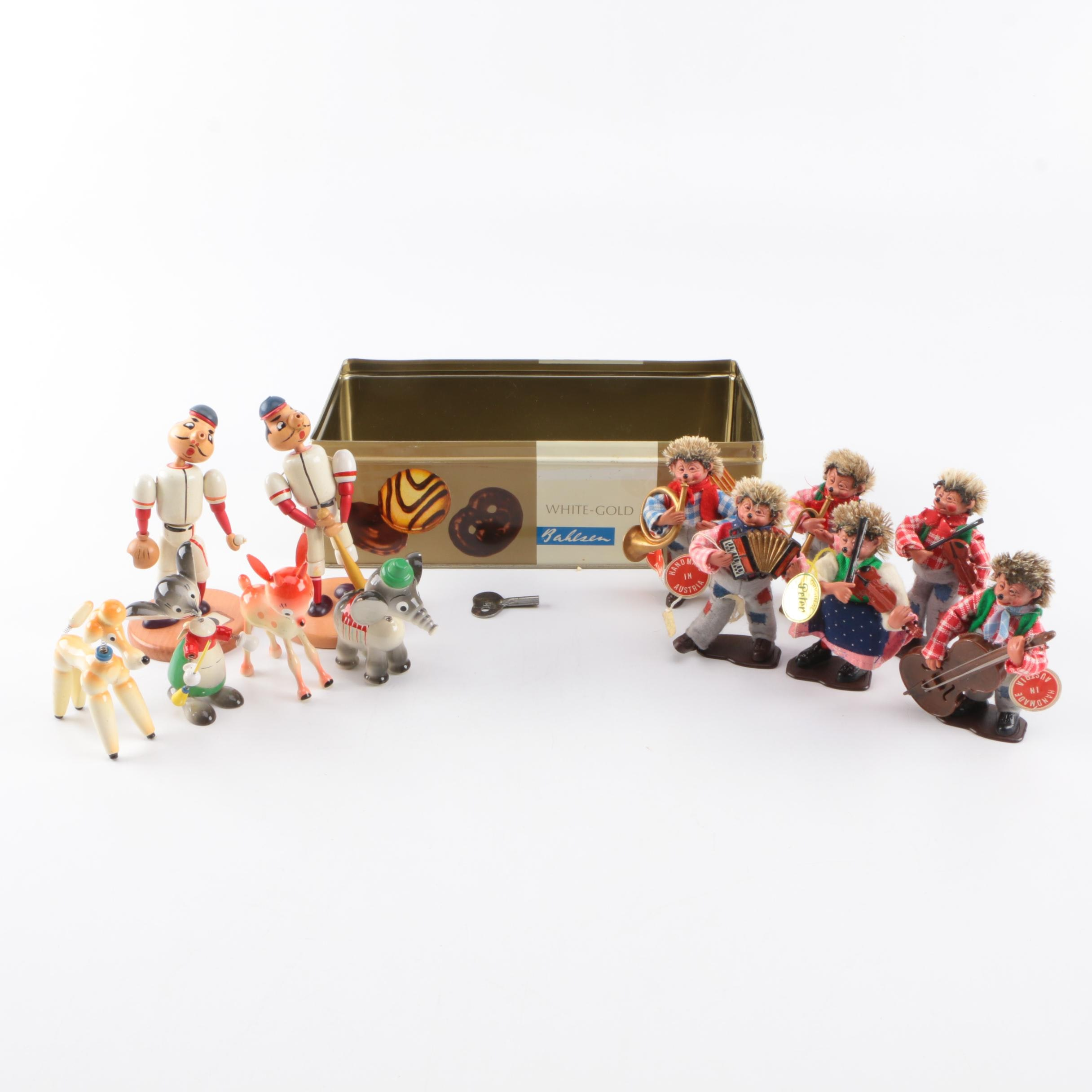 European Wood Figurines, Hand Carved Toys