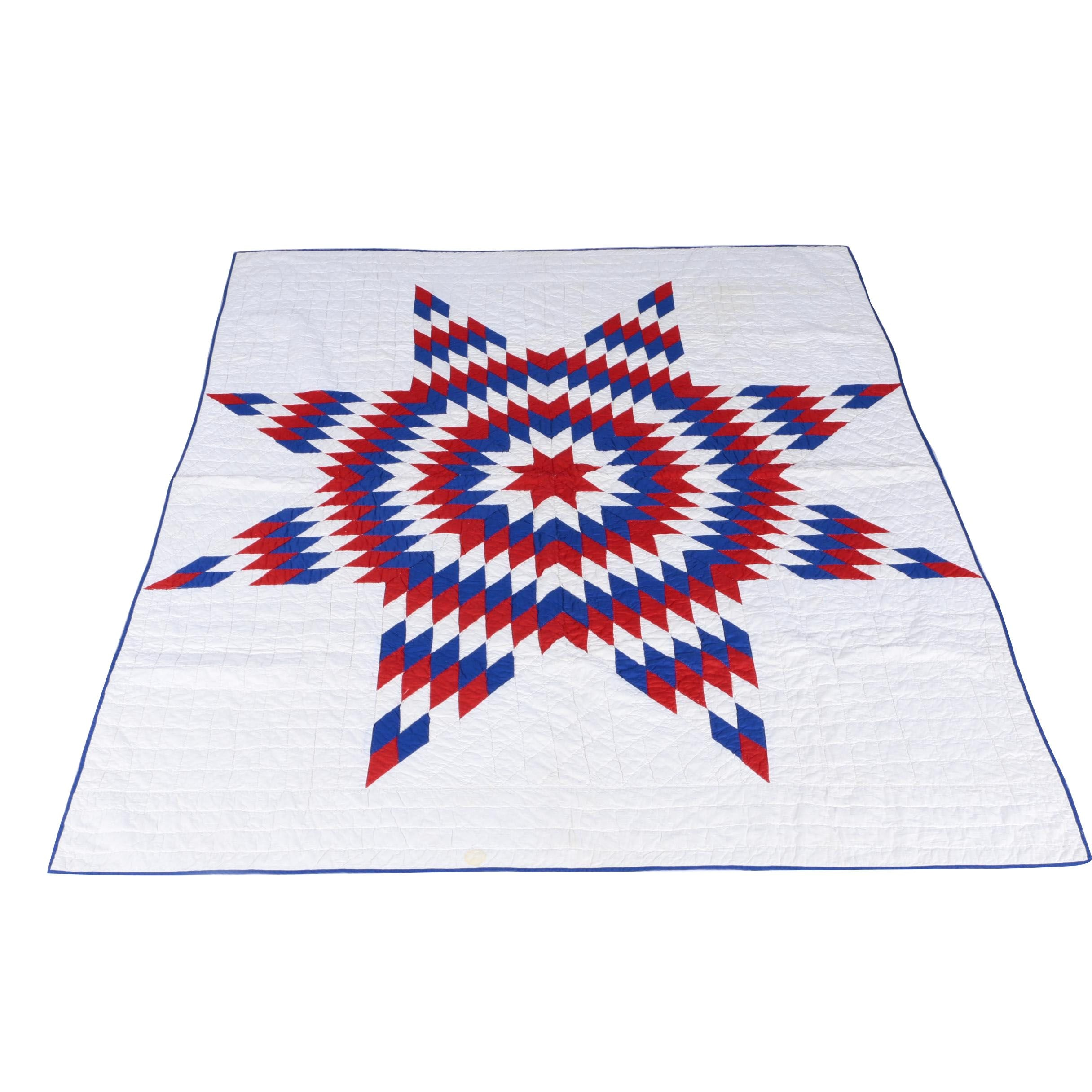 """Hand-Made Red, White, and Blue """"Texas Star"""" Quilt"""