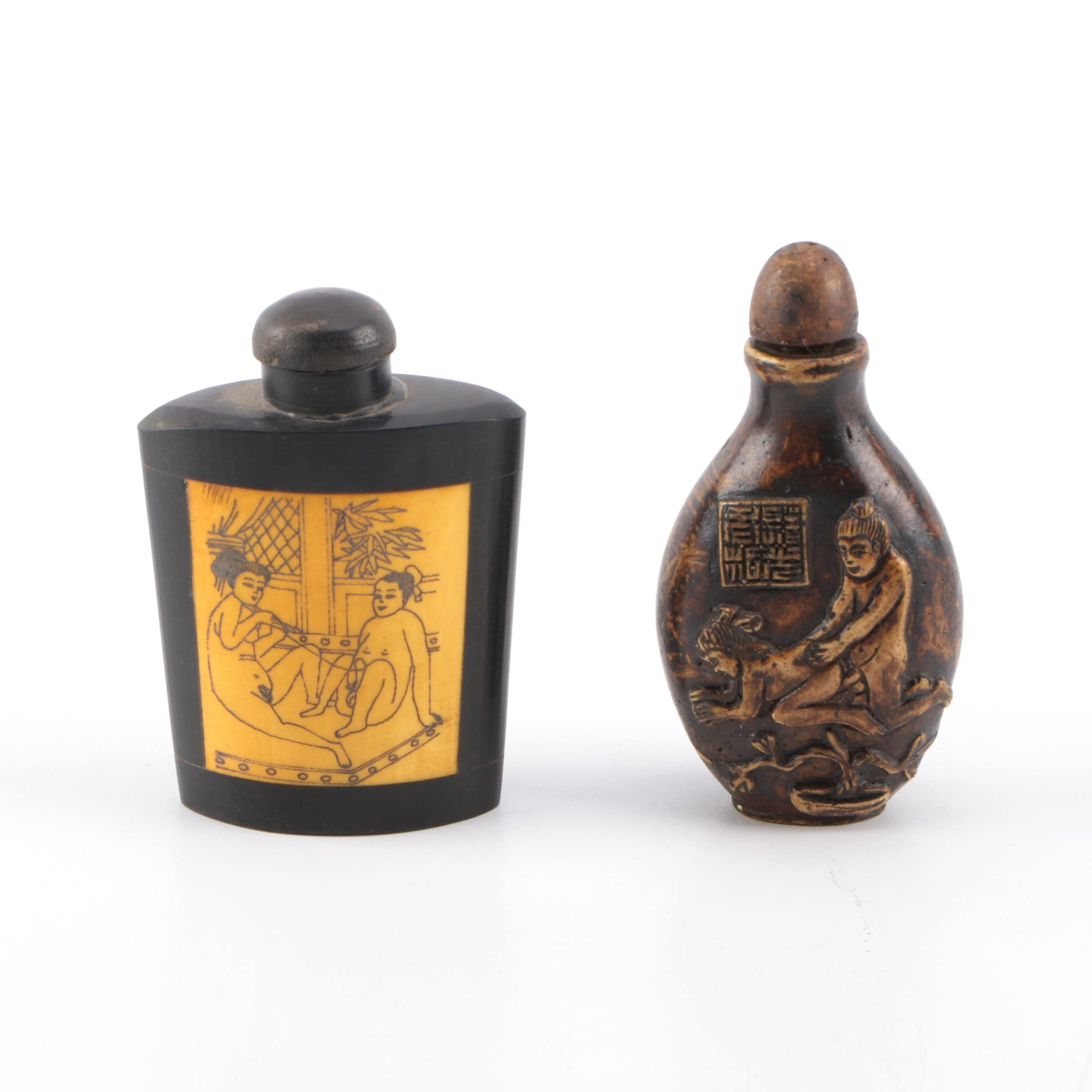 Erotic Chinese Stone and Metal Snuff Bottles