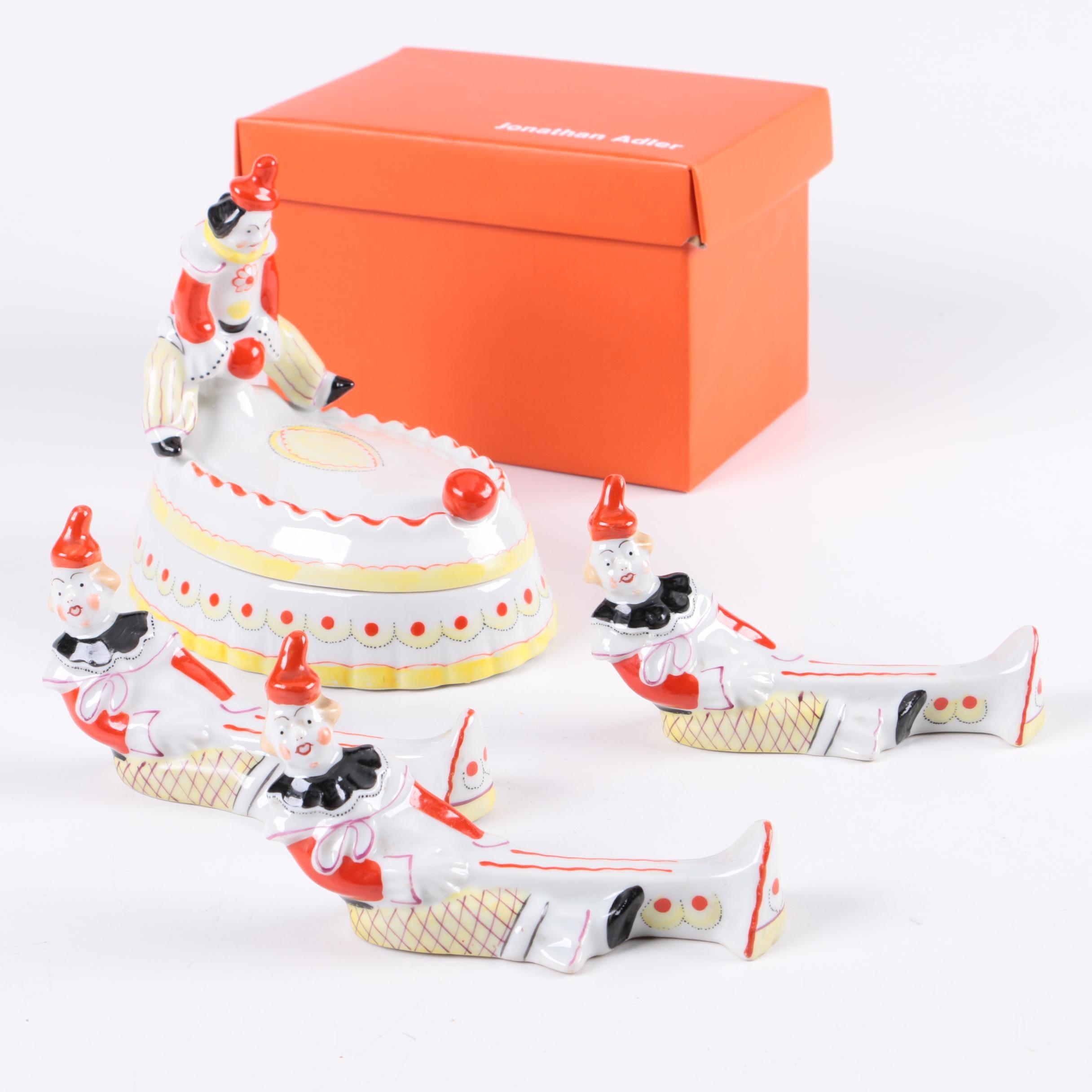 Ceramic Clown Trinket Box and Figurine Collection