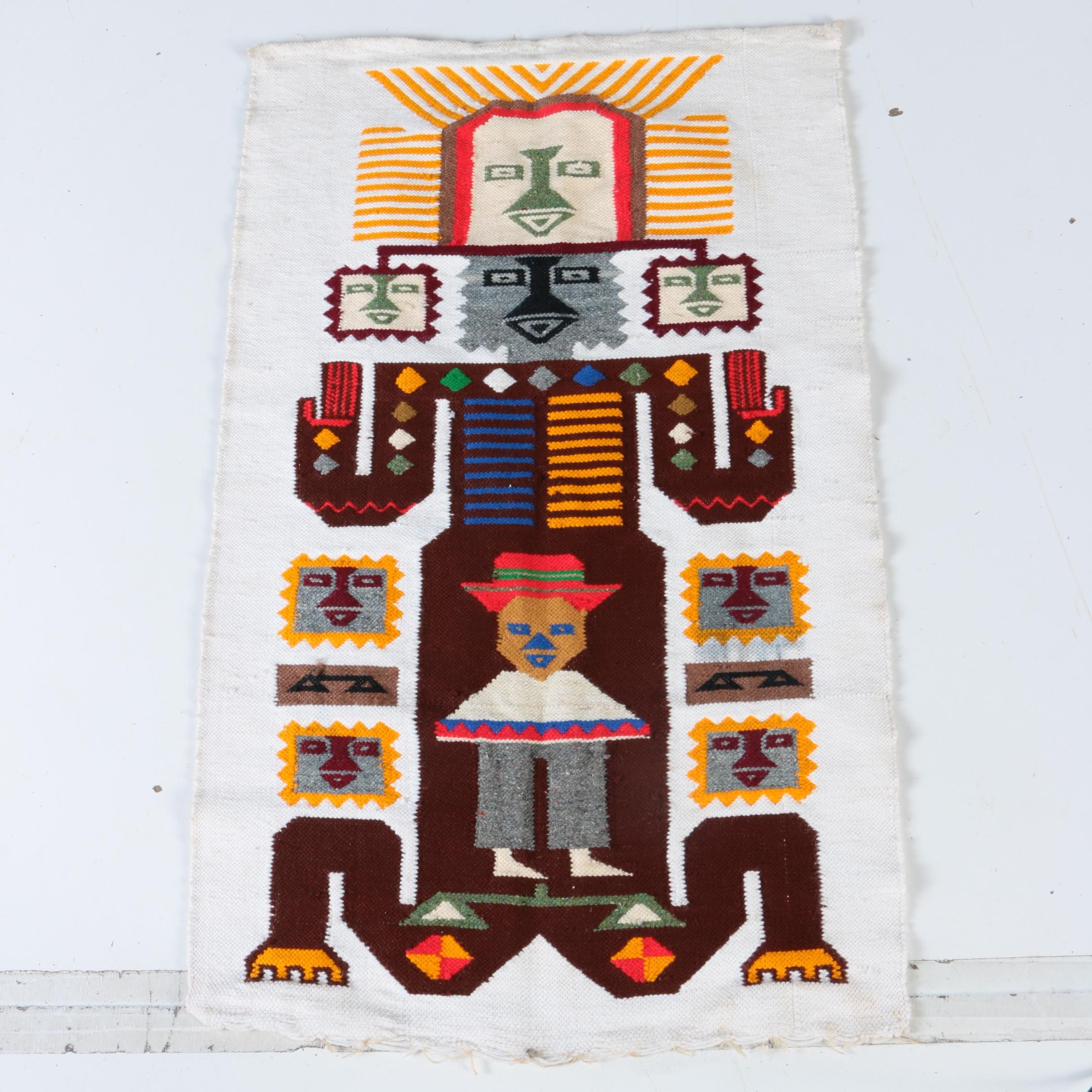 Handwoven Peruvian-Style Pictorial Accent Rug/Wall Hanging
