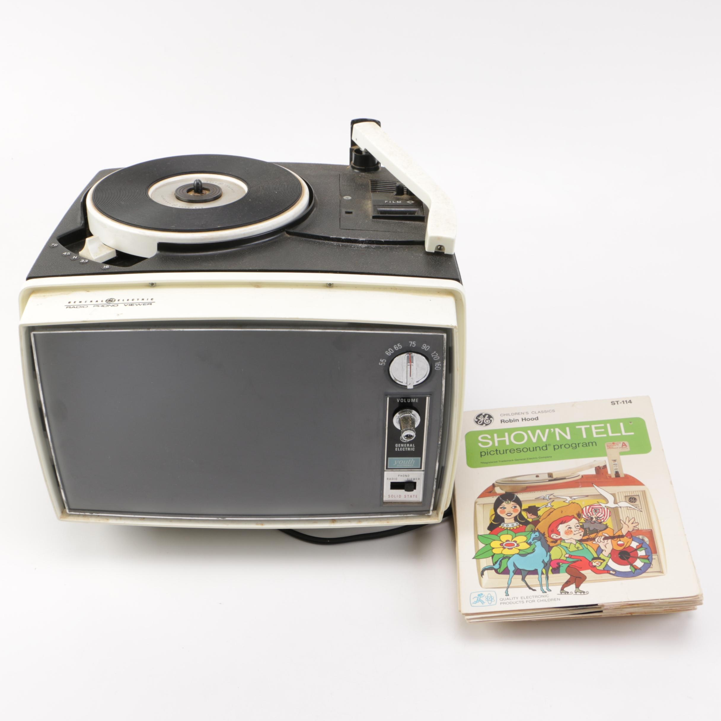 Vintage GE Radio Phono Viewer with Disney Show'N Tell