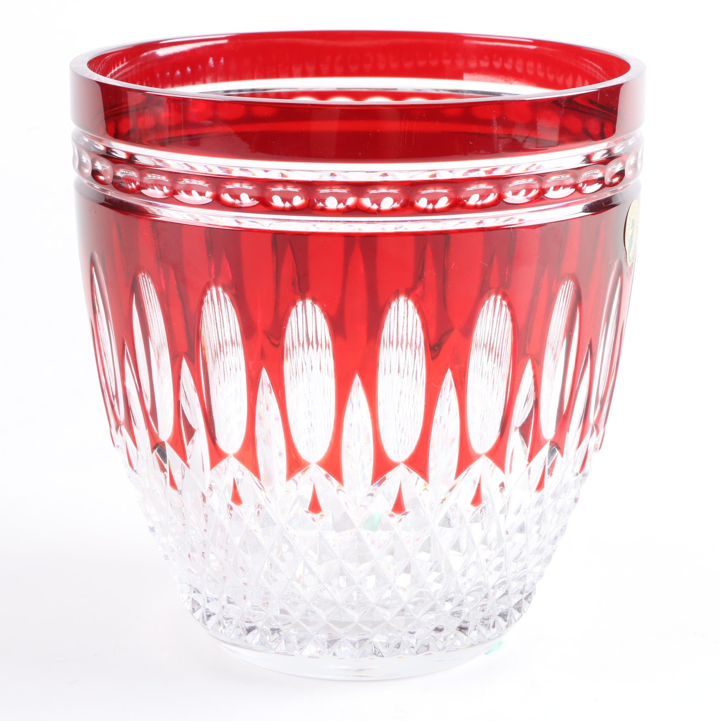 """Waterford """"Clarendon Ruby"""" Crystal Ice Bucket"""