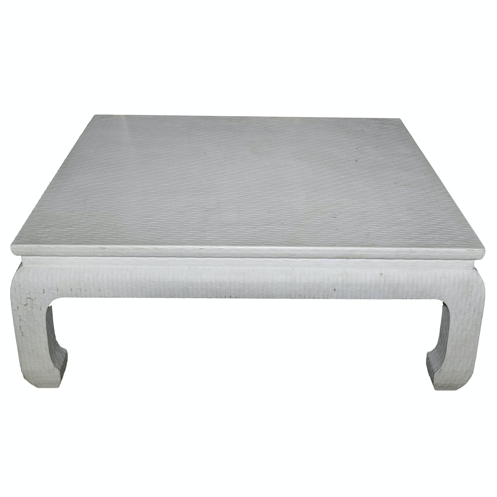 Chinoiserie Style Grasscloth Covered Coffee Table by Baker Furniture