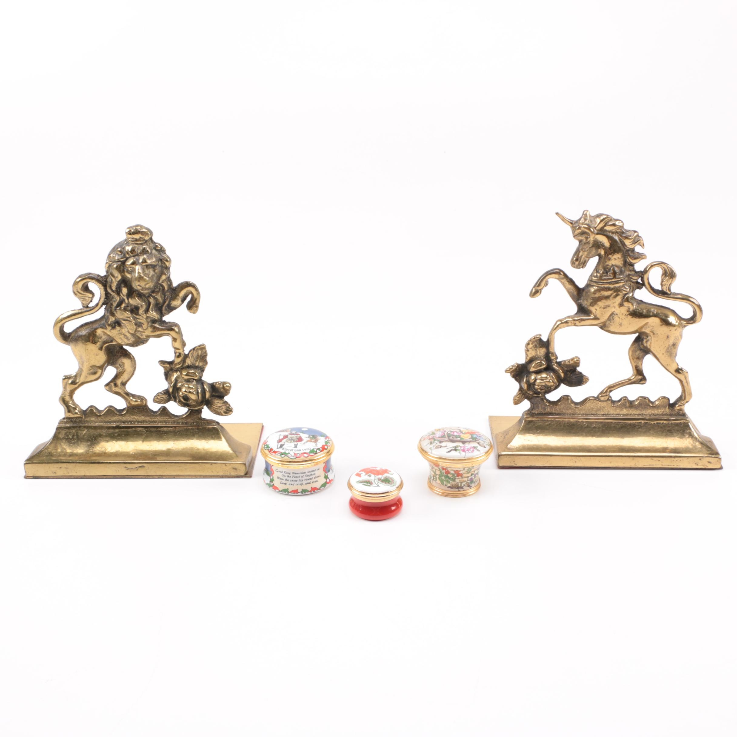 Brass Bookends with Enameled Trinket Boxes