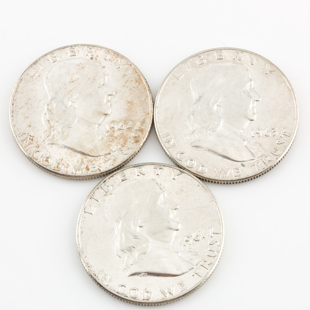 1961-D/1962-D/1963-D Silver Franklin Half Dollars