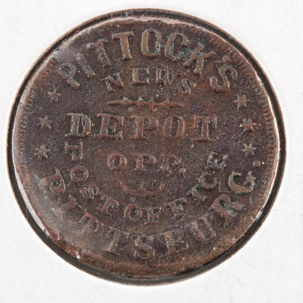 Pittock News Depot & Post Office Token from Pittsburg, Pa.