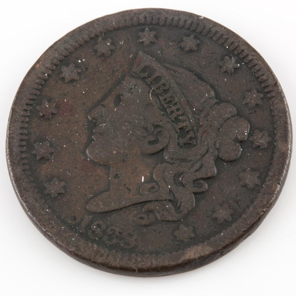 1838 Braided Hair Large Cent